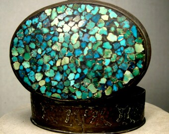 Turquoise Mosaic Inlay Box, Hinged Brass Small Oval Stash Container,  1960s  Indian Folk ART Hippie Years