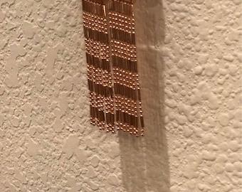 """Lovely Light Rose Gold Dainty Bead Tassel Earrings, 2.5""""L"""