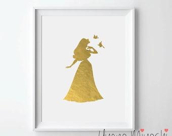 Disney Princess Sleeping Beauty Gold Foil Print, Gold Print, Custom Print in Gold, Gold Art Print, Sleeping Beauty Gold Foil Art Print