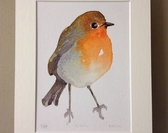 Robin Redbreast Print of an original Robin Watercolour painting, Watercolor Print, Bird Print, Bird Art, Wall Art, Watercolor Painting,