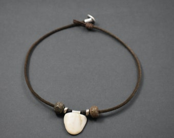 Necklace - Natural seashore eggshell color stone