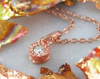 Diamond Necklace, Solitaire Necklace, Rose Gold Pendant, Fine Diamond, White Diamond Necklace, Genuine Diamond Pendant, Handmade Necklace