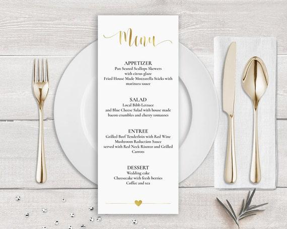 Gold Menü Vorlage Faux Gold Hochzeit Menü-Karte Gold