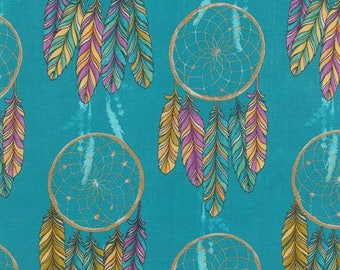 Michael Miller - Catching Dreams Collection - Dream On in Turquoise Metallic