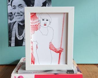 Giclee Print - Just A Girl // feminist gift, girl power, future is female, gift for teen girl, fine art, home decor, girl gift, modern art