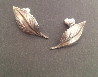 Vintage Sterling Silver Leaf Earrings