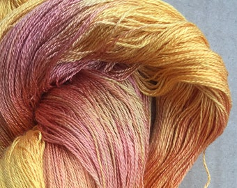 Hand Dyed Silk Yarn, Cobweb Lace 30/2 weight,Spun Silk Yarn, Weaving , Lace Knitting,  Lacemaking, No.07 Yellow Ochre