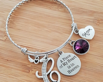 Sympathy Bracelet Sympathy Gift In Memory of Mom Memorial Bracelet Loss of Mother Remembrance Bracelet Remembrance Jewelry Heart in Heaven