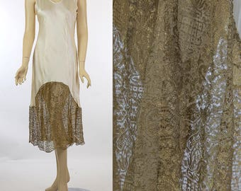 Vintage 30s silk charmeuse dress with gold metallic lace inserts