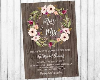 Boho Bridal Shower Invitation, Miss to Mrs Boho Floral Wreath Invite, Watercolor Floral Bohemian. Baby Girl Invite. Digital File.