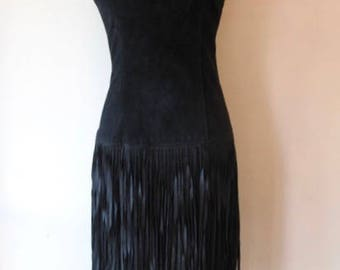 1980S Suede Dress with Fringe