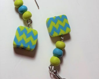 Blue and Green Zigzag- Handmade Polymer Clay Earrings