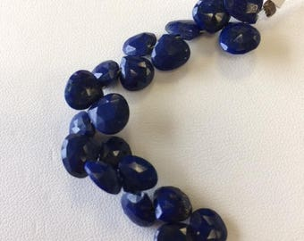 8mm AAA Faceted Lapis Briolette Drops