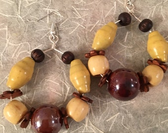 Wood beads with glass bead and flower spacers