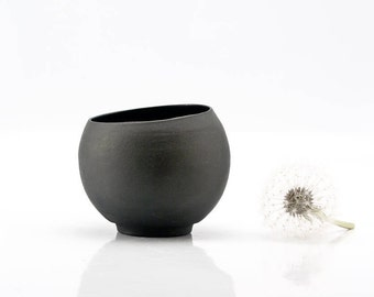 Minimalist Black Ceramic Teacup, Handmade Ceramic Coffee Cup, Man Gift