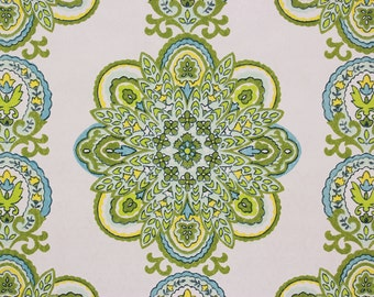 1960s Vintage Wallpaper Blue and Green Geometric Medallions on White by the Yard--Made in West Germany