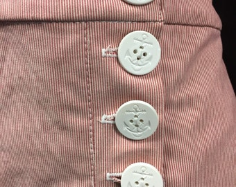 "MEDIUM 30"" waist-Red & White Stripe Vintage Style SAILOR SHORTS"