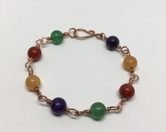 Mixed Bead Bracelet; Copper Gemstone Bracelet; Lepidolite, Orange Aventurine, Carnelian, Green Aventurine Bead; Copper Bracelet; Gift for He