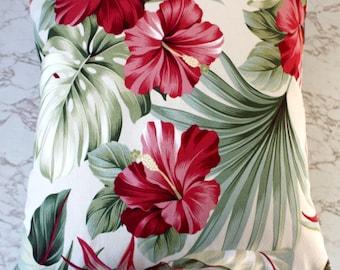 hibiscus oasis tropical retro cushion