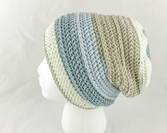 Shiplap Slouchy Beanie // Crochet Hat // Nested Blues // Casual