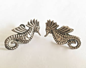 Vintage Signed, JE Mexico Taxco Sterling Silver Detailed Seahorse Earrings, Circa 1950's screw back earrings