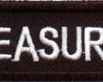 TREASURER Embroidered MC Club Officer NEW Biker Motorcycle Vest Patch