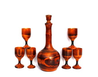 Soviet vintage wood carafe and shot glasses set Natural wood home decor Wood pitcher Decorational drinking set Farmhouse decor Rustic wood