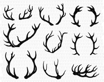 9 Deer Antlers Silhouette Printable High Quality Graphic Instant Download 2430