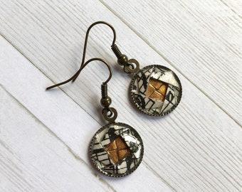 Origami Camellia Dangle Earrings //  Bronze Music