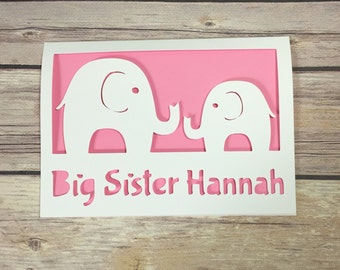 Big Sister Card, Big Brother Card, Personalised Gift, Big Sister, New Sibling Card, New Big Sister, New Baby Card, New Arrival