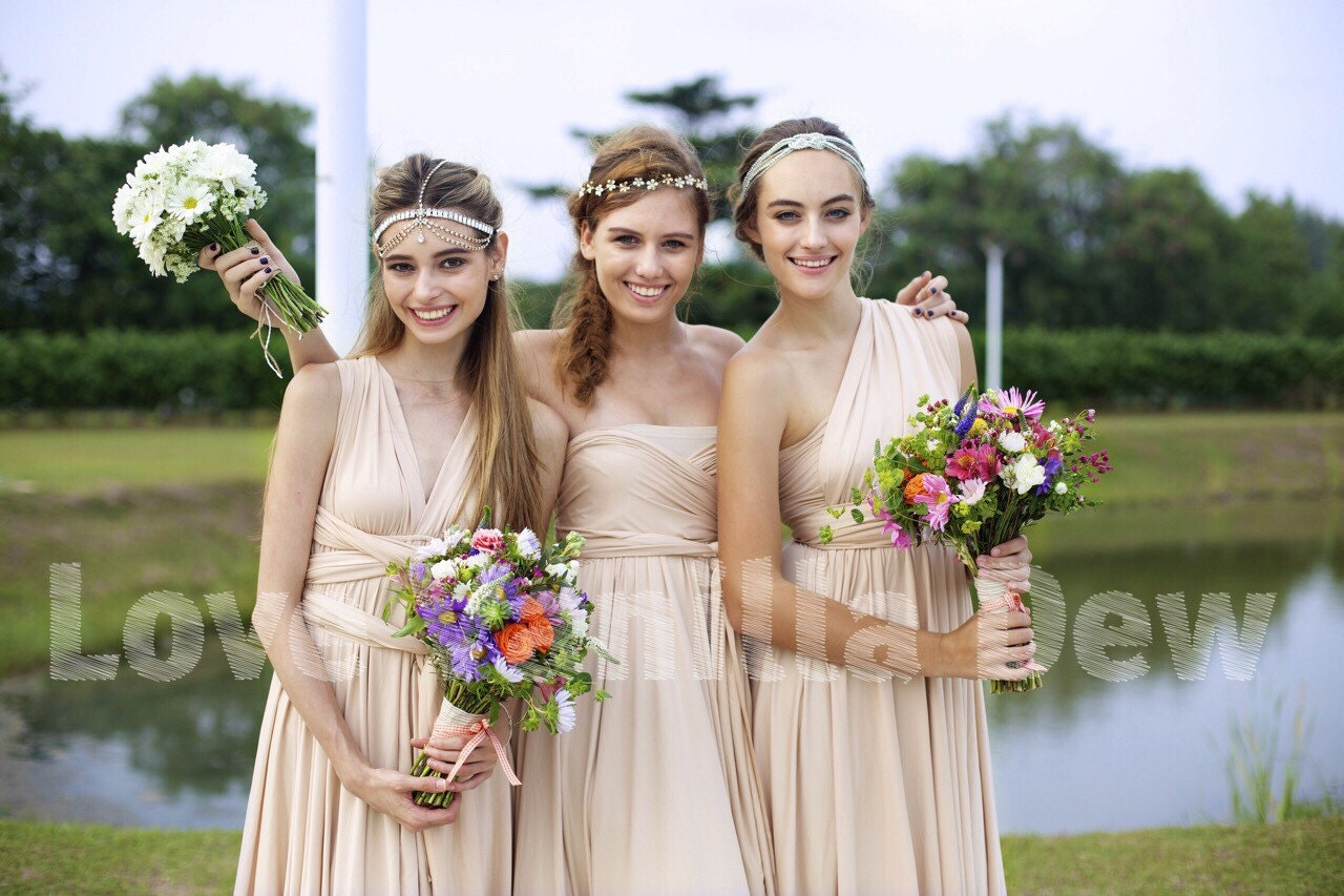 Beige Infinity Dress Champagne Bridesmaid Dress Prom Dress: Bridesmaid Dress Infinity Dress Champagne Knee Length Wrap