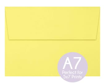 Pastel Canary - A7 5x7 Envelopes - 5x7 Invitation Envelopes, Perfect for 5x7 Photo Cards and Invitations, A7 Wedding Envelopes - Set of 10