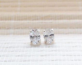 Cubic Zirconia Stud Earrings Sterling Silver April Birthstone 7x5mm