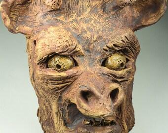 Terrified Giraffe ceramic sculptural mask