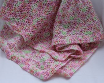 Handmade crocheted light pink camouflage baby blanket