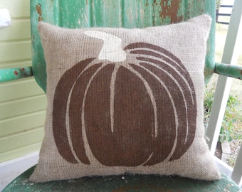 You Pick CUSTOM COLORS Fall Halloween PUMPKIN Fun Painted Burlap Throw Accent Pillow Home Decor
