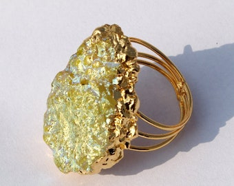 24k Gold Electroformed Green Flower Shape Druzy Ring, Druzy Flower Ring, Mineral Druzy Jewelry, Statement Ring, Adjustable Gold Ring GD05