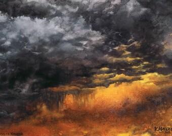 storm sky original watercolor painting - dramatic sky painting - dark clouds art -heavy clouds - orange-purple watercolor - dark painting