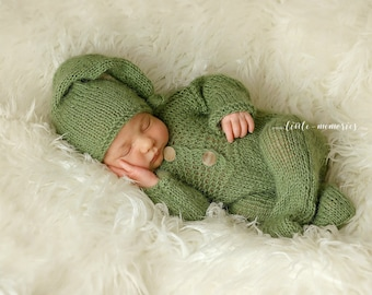 Baby Newborn Overalls Knitted set with hat photo prop