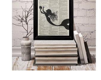 Mermaid Tails, Mermaid Print, Vintage Dictionary Page Print, Dictionary Art, Beach Decor, Marine Life, Mermaid Pictures, Little Mermaid