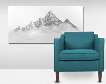 Wall Art, Oil painting, Canvas Art, Snowy Mountains, Painting By Ryan Vosburg