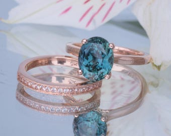 RESERVED Peacock Blue Green Sapphire 4.17 Cts 14k Rose Gold Engagement Ring and Wedding Band