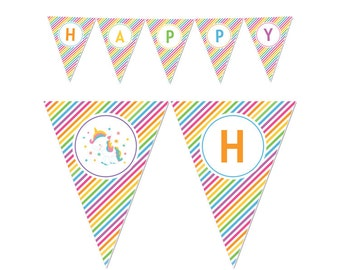 50% Off Sale! - PRINTABLE Rainbow Unicorn Party Banners