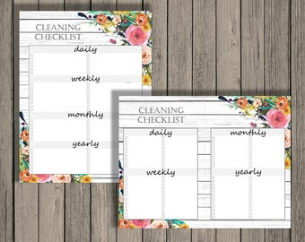 Cleaning checklist printable - daily, weekly, monthly, and yearly cleaning checklist.  Editable printable.  Blank Cleaning Printable.