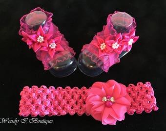 Child Barefoot Sandals & Headband Set