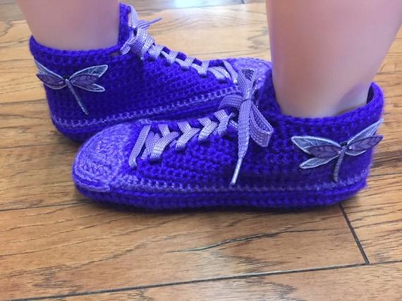slippers crochet 7 dragonfly slippers dragonfly shoe sneaker purple purple 9 tennis house dragonfly Crocheted Womens slippers shoes sneakers nxw0pq1x86
