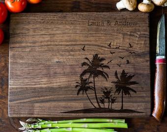 Custom Engraved Cutting Board, Personalized Cutting Board, Palm Monogram, Wedding Gift, Anniversary, Bridal Shower Gift, Kitchen Decor #3090