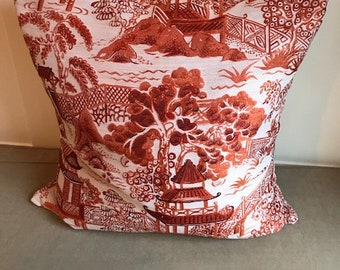Eclectic orange chinoiserie toile pillow case with zipper