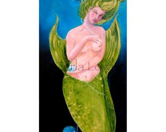 Mermaid painting,  Goddess art,  Mermaid Oil, Fine art, wall art, giclee print, coastal decor, green, cobalt blue, nude with pearls,