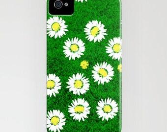 Fleur de Marguerite sur l'herbe verte de portable - iPhone 6 s, iPhone 6 Plus, cas de floral, iPhone 8